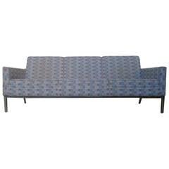Sleek Florence Knoll Style Three-Seat Sofa by Steelcase Chrome Base