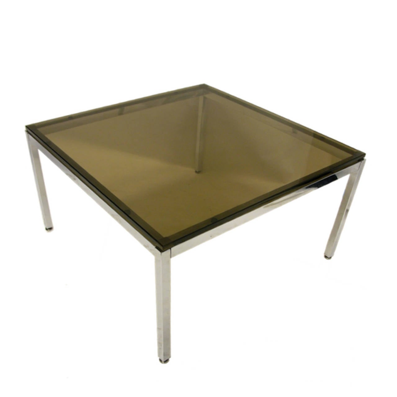 Pair Of Sleek Smoked Glass And Chrome End Tables By Steelcase At 1stdibs