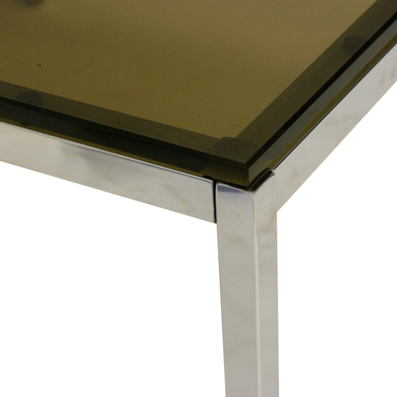 Pair Of Sleek Smoked Glass And Chrome End Tables By Steelcase For Sale At 1stdibs