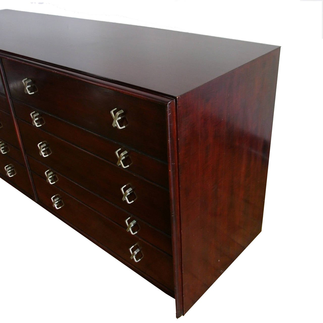 Mid-20th Century Paul Frankl for Johnson Furniture Mahogany Ten-Drawer Dresser with X Pulls For Sale