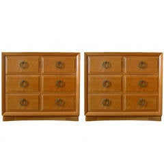 Pair Robsjohn-Gibbings for John Widdicomb Mahogany 3 Drawer Chests or Commodes