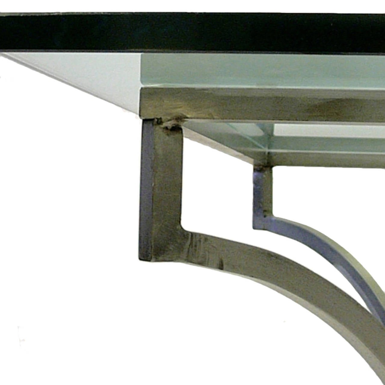 Steel And Brass Garden Patio Dining Table With Glass Top At 1stdibs