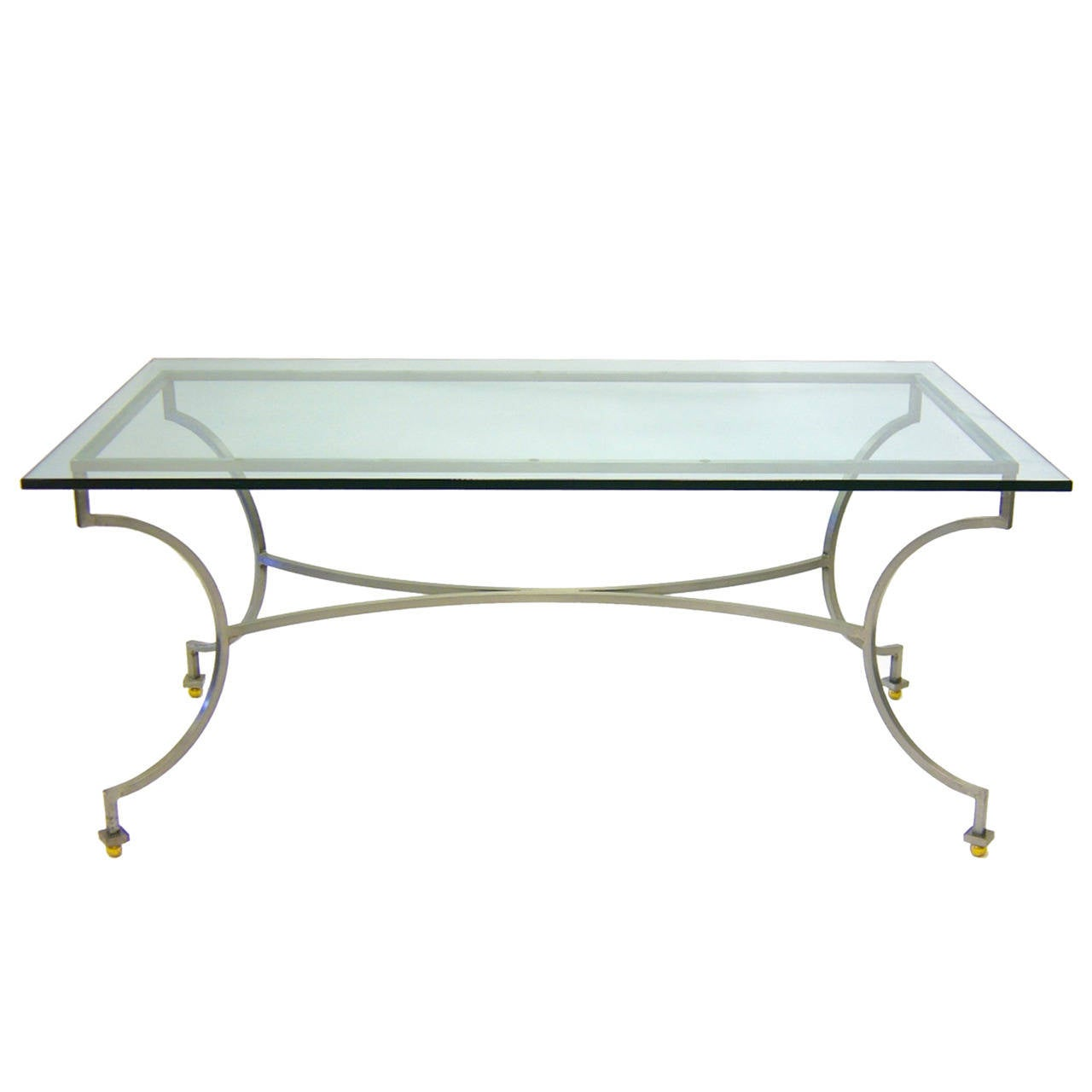Steel and brass garden patio dining table with glass top for Outdoor dining table glass top
