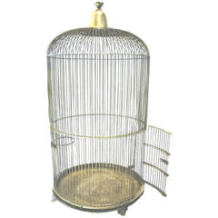 Monumental Four Foot Tall Brass Bird Cage