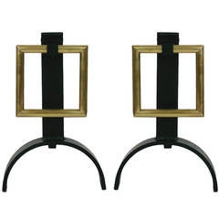 Pair of Modernist Andirons with Hanging Brass Squares