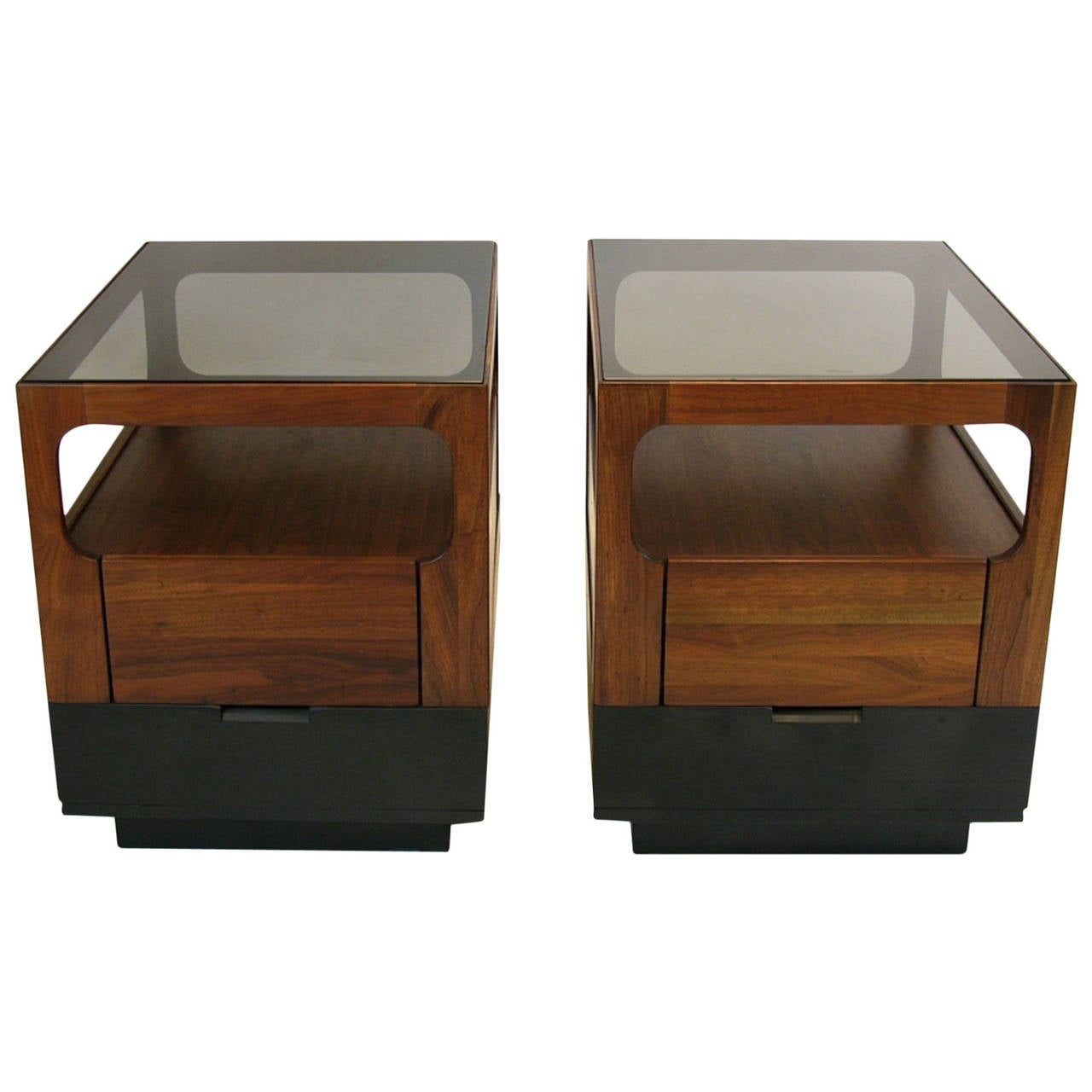 Brown Saltman Walnut And Smoked Glass End Tables Or Night