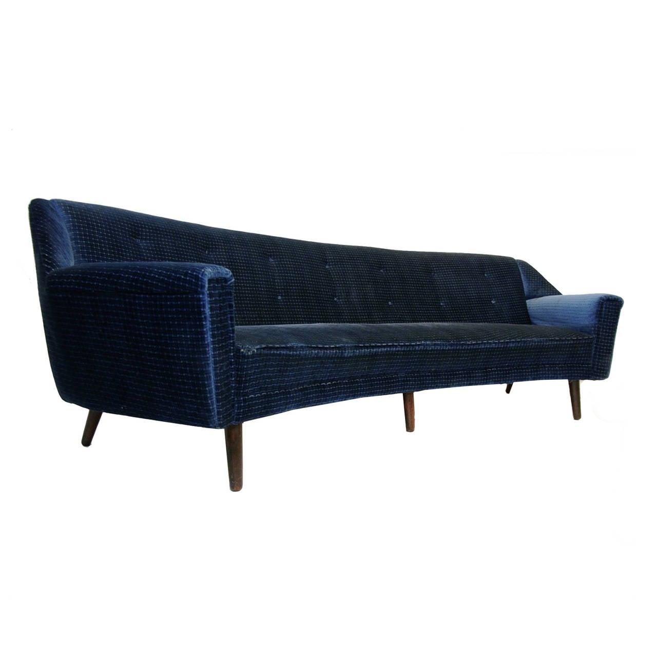 Rare Kurt Ostervig for Henry Rolschau Mobler Curved Sofa For Sale