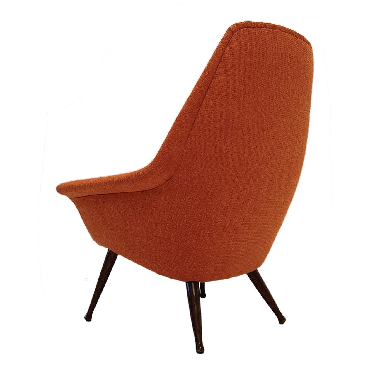 Midcentury Sleek Modern Sculptural Lounge Chair in New Orange Upholstery For