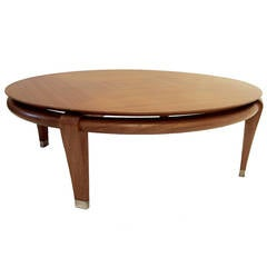 Paul Laszlo for Brown Saltman Round Coffee Table in Mahogany, Model 145