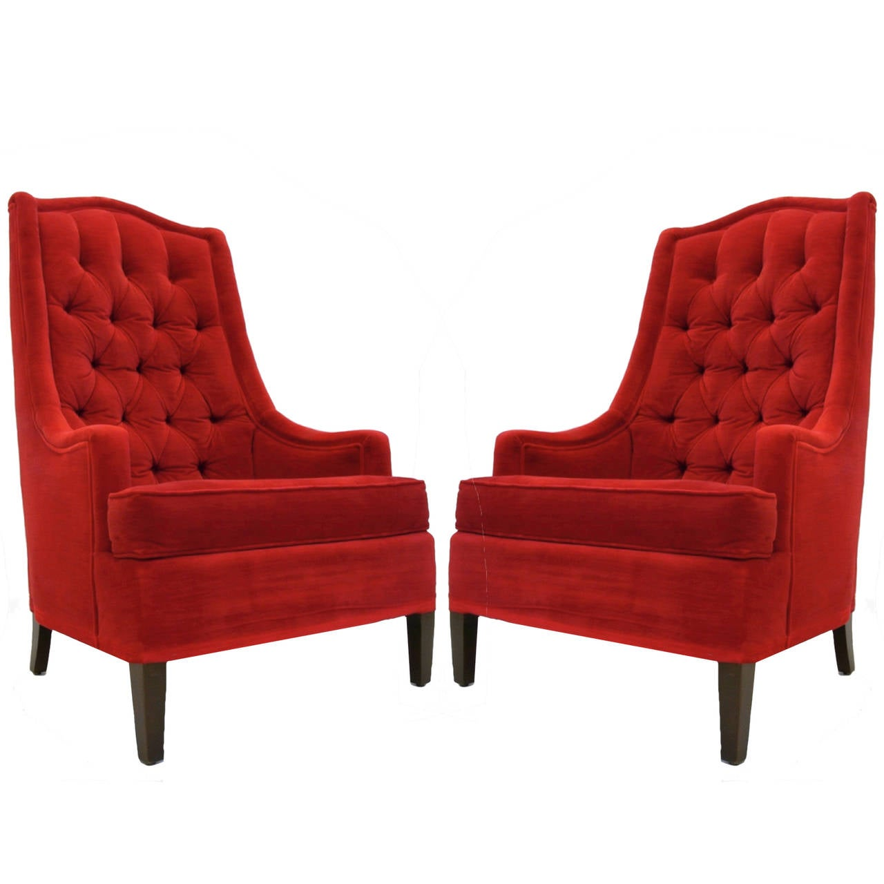 Red velvet chair - Excellent Pair Of Tufted Red Velvet Classic Regency Arm Or Club Chairs 2