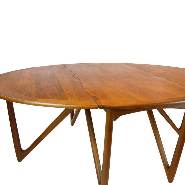kurt ostervig teak gate leg drop leaf folding dining table at 1stdibs
