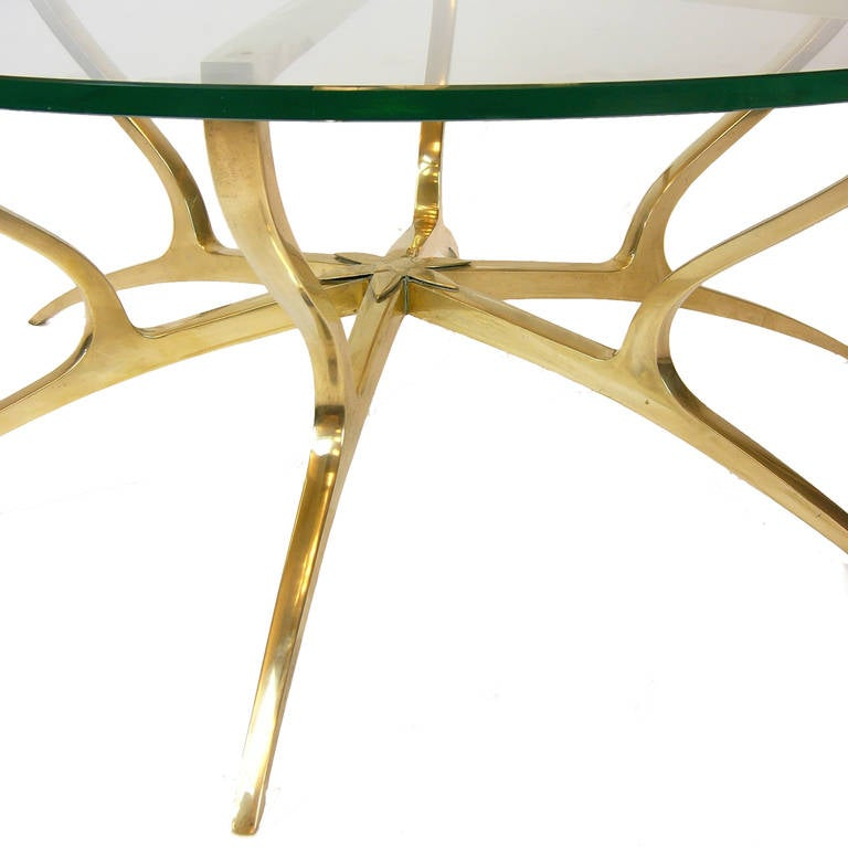 Heavy Solid Brass With Glass Italian Style Coffee Table At 1stdibs