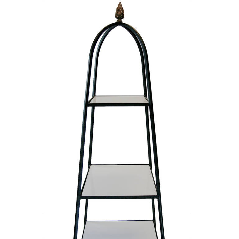 Tommi parzinger style wrought iron and milk glass etagere for sale at 1stdibs - Etagere 8 cases ikea ...