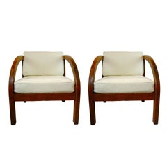 "Pair of Stunning Modernage Art Deco ""D"" Lounge Chairs"