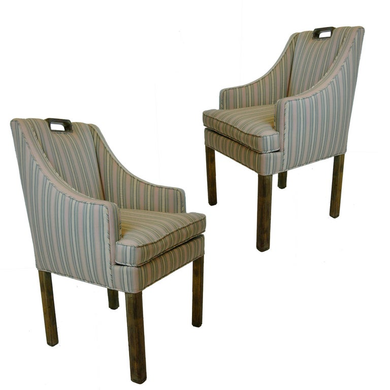 Handsome Pair James Mont Tuxedo Occasional Armchairs, Dining or Sitting Chairs For Sale