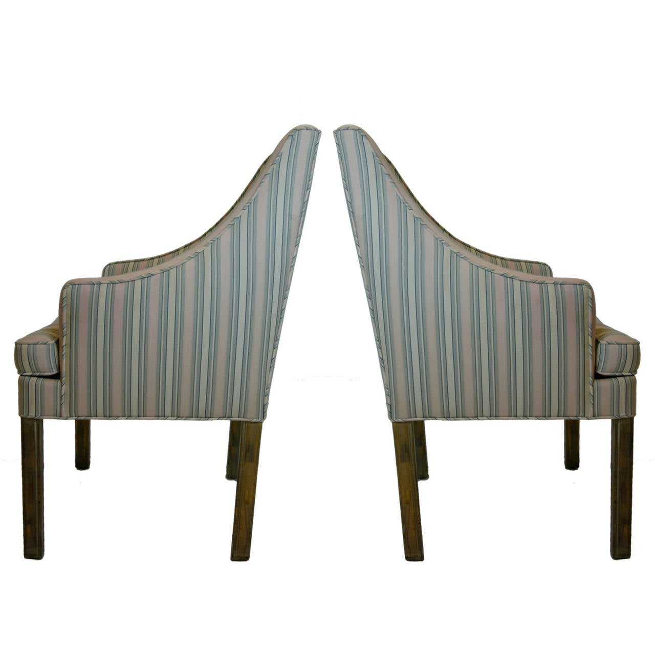Regency Handsome Pair James Mont Tuxedo Occasional Armchairs, Dining or Sitting Chairs For Sale