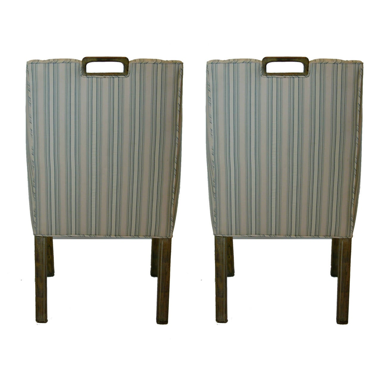 American Handsome Pair James Mont Tuxedo Occasional Armchairs, Dining or Sitting Chairs For Sale