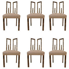 Set of Six James Mont Greek Key Dining Chairs