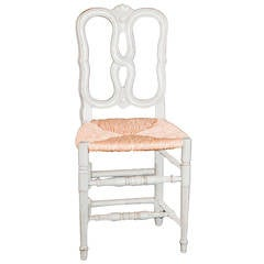 Contemporary American Louis XVI Style Rush-Seat Side Chair