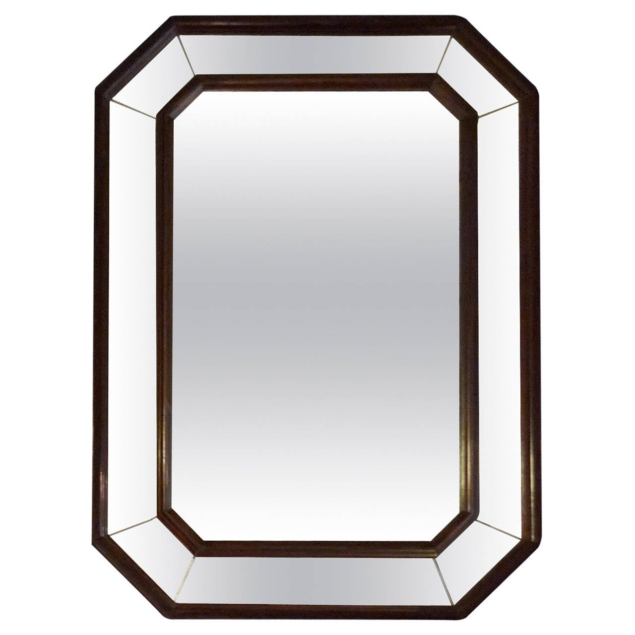 French art deco wood frame mirror with original glass at for Mirror with mirror border