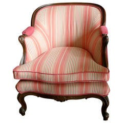 French 19th Century Bergère Chair With New Fabric