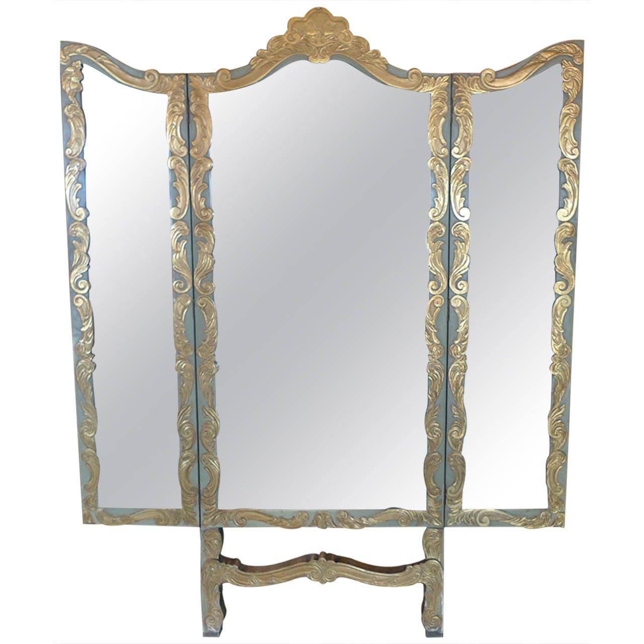 Spanish 19th century folding triptych decorative mirror for Fancy floor mirrors