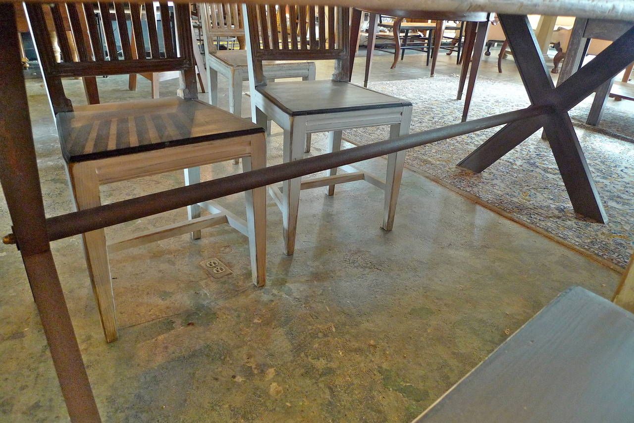 French Farm Table With Wooden Top On Criss Cross Cast Iron Legs 3