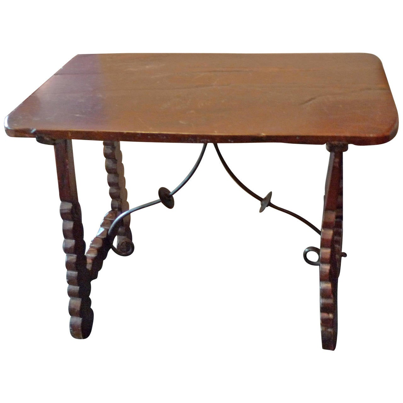 spanish 19th century wood and iron end table for sale at