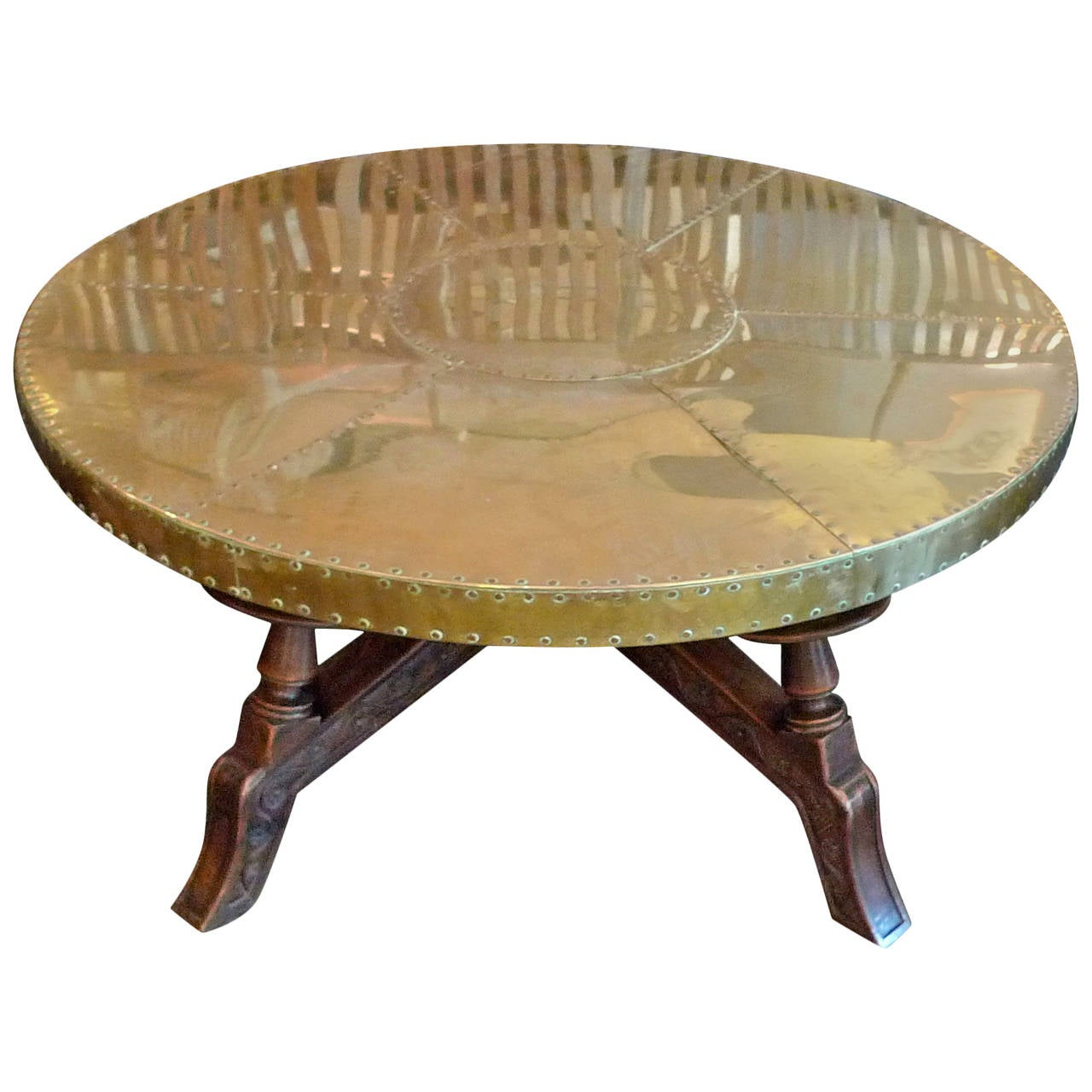 Spanish Arts And Crafts Brass Plated Coffee Table At 1stdibs