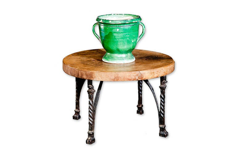 French 1920s Block Wood And Cast Iron Round Coffee Table At 1stdibs