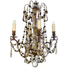 French 19th Century Metal and Crystal Chandelier