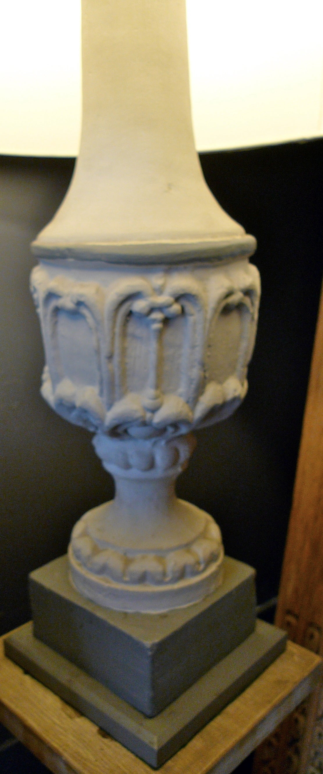 Painted Stone Pillars : Pair of french painted stone pillar lamps for sale at stdibs