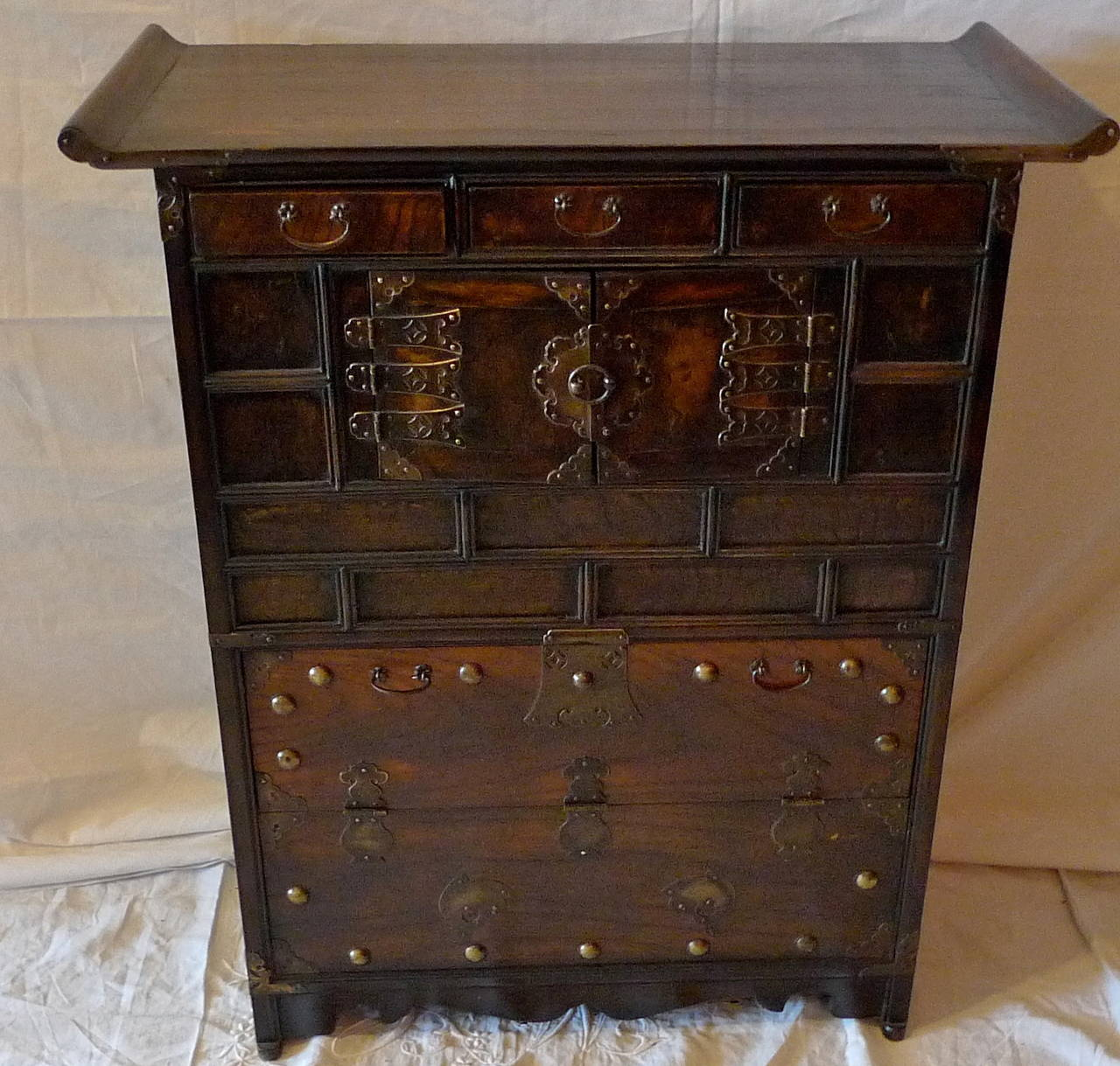 Korean Xix Decorative Cabinet Lined With Printed Rice Paper