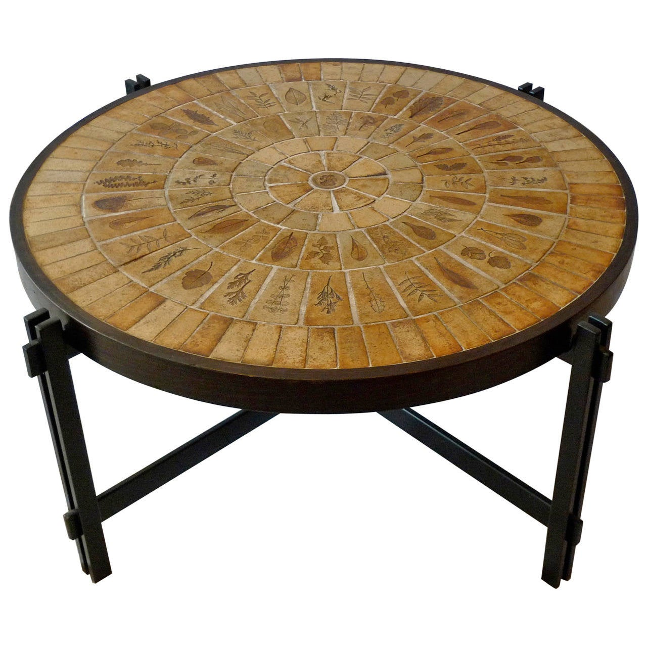French 1960s Round Coffee Table In Tile And Iron For Sale At 1stdibs