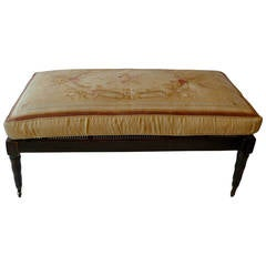 French XIX Rattan Bench on Wheels with Aubusson Cushion