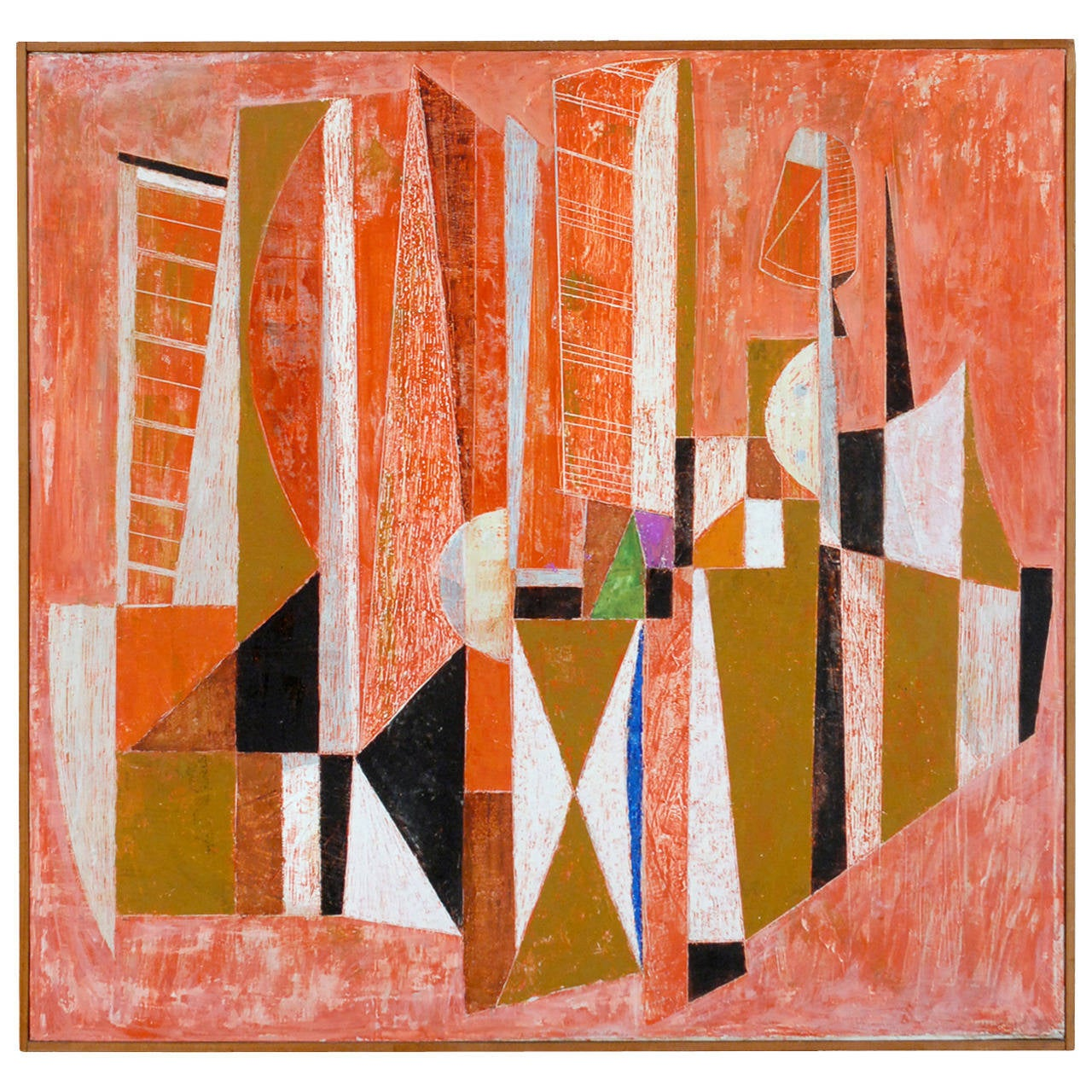 Armando Villegas Modern Abstract Painting, 1958 OAS