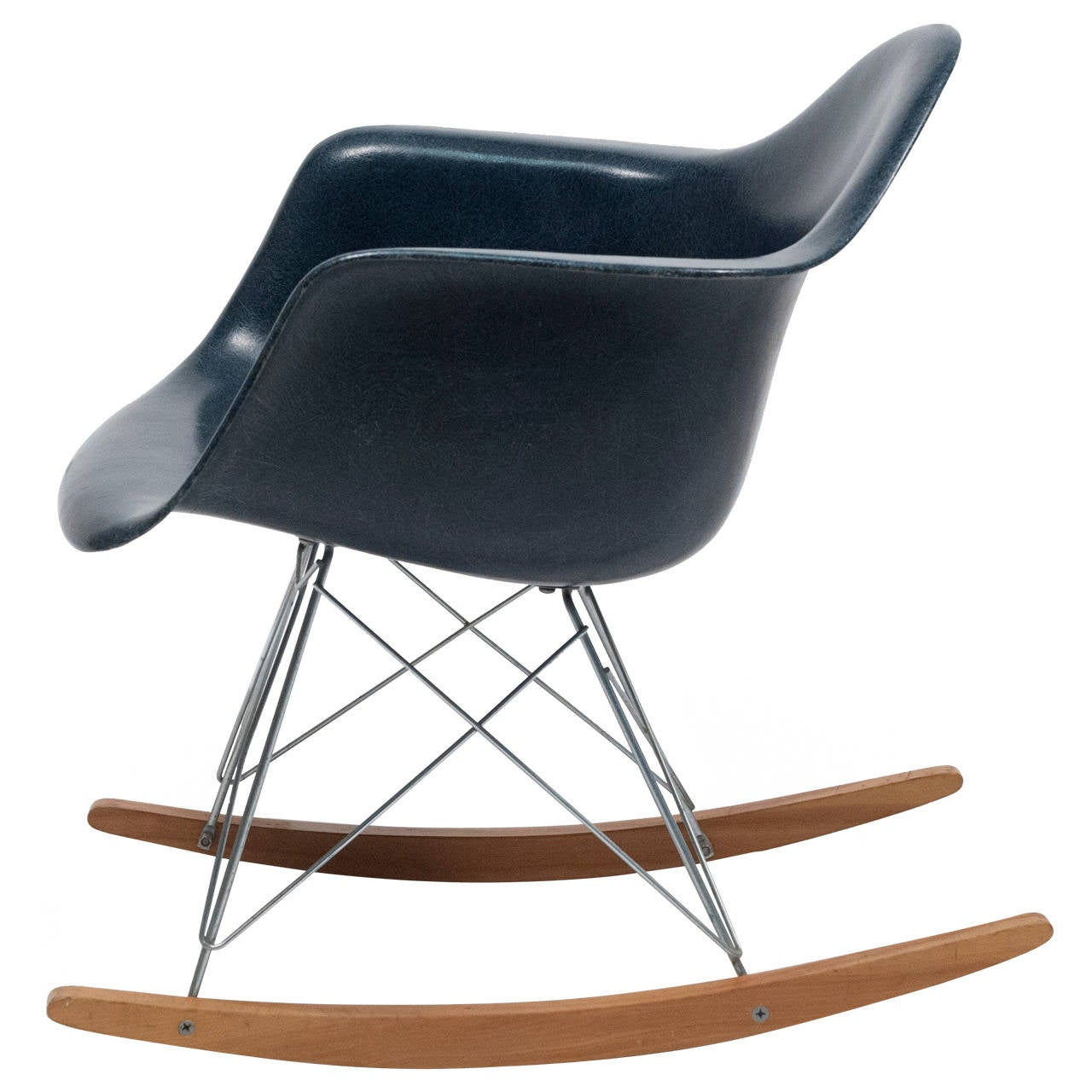 Eames Navy Blue Shell Herman Miller Rocking Chair, 1962 For Sale