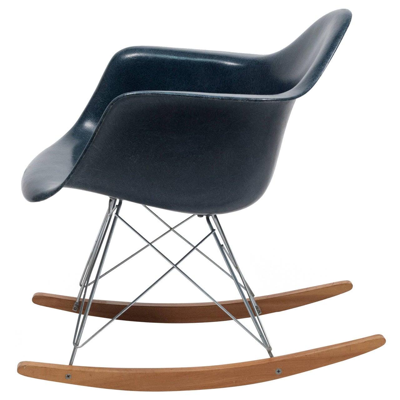 eames navy blue herman miller rocking chair 1962 at 1stdibs