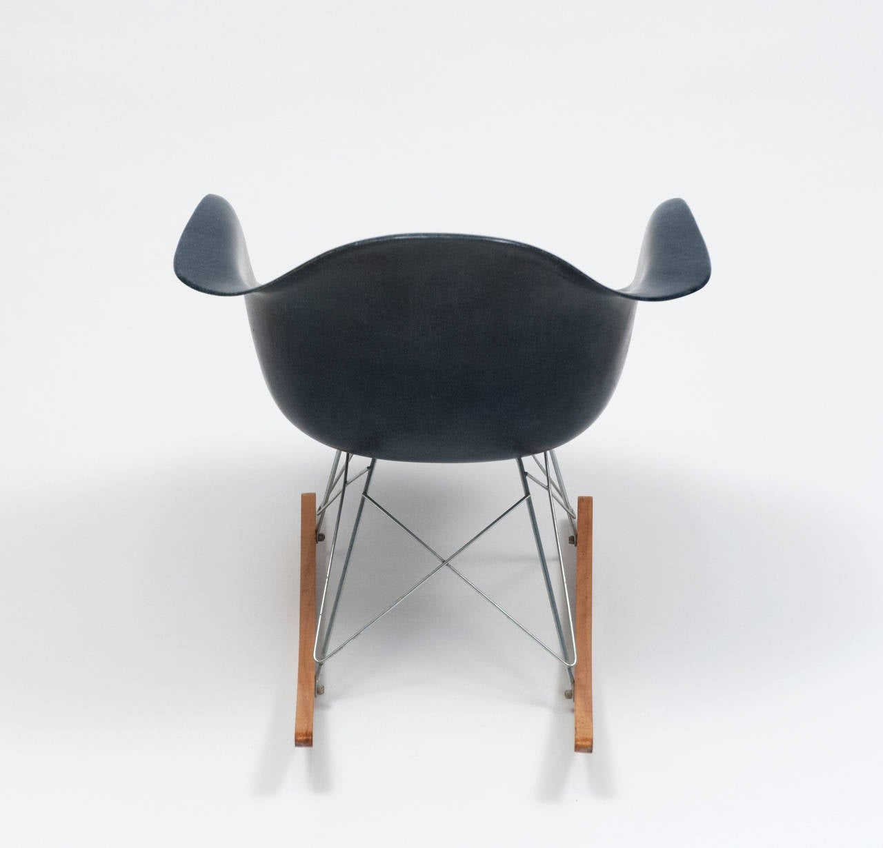 Very Impressive portraiture of Eames Navy Blue Shell Herman Miller Rocking Chair 1962 For Sale at  with #8B5C40 color and 1280x1230 pixels