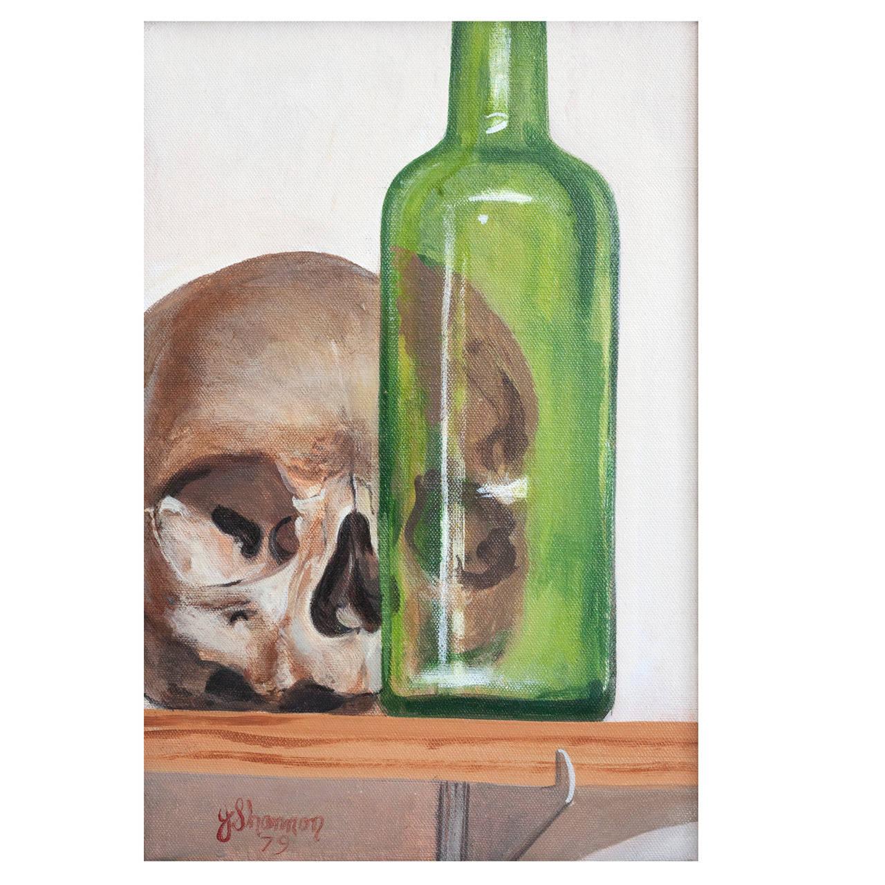 "Joe Shannon Washington DC Painting, 1979 ""Skull with Green Bottle"""