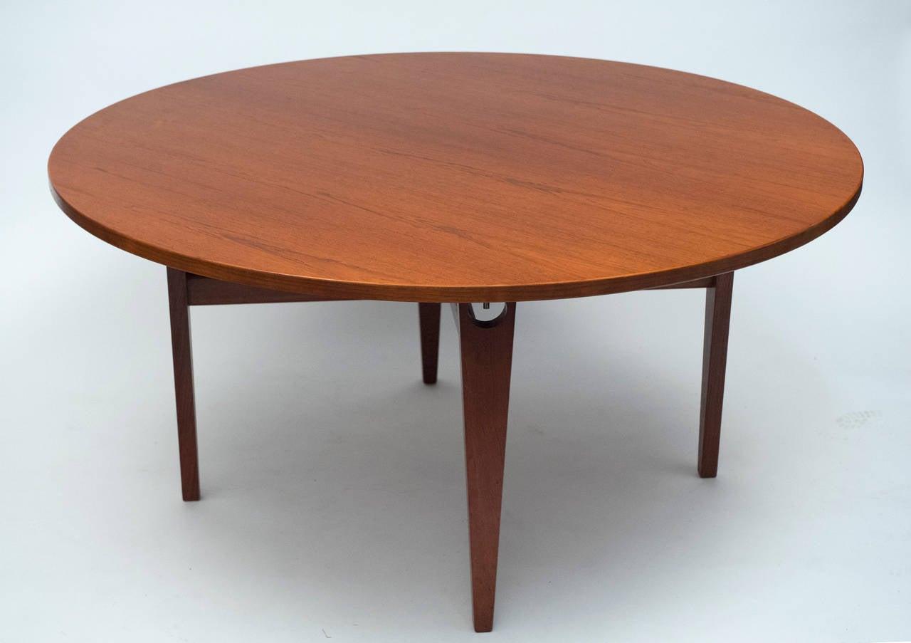 Hans wegner round teak table for sale at 1stdibs for Round teak table top