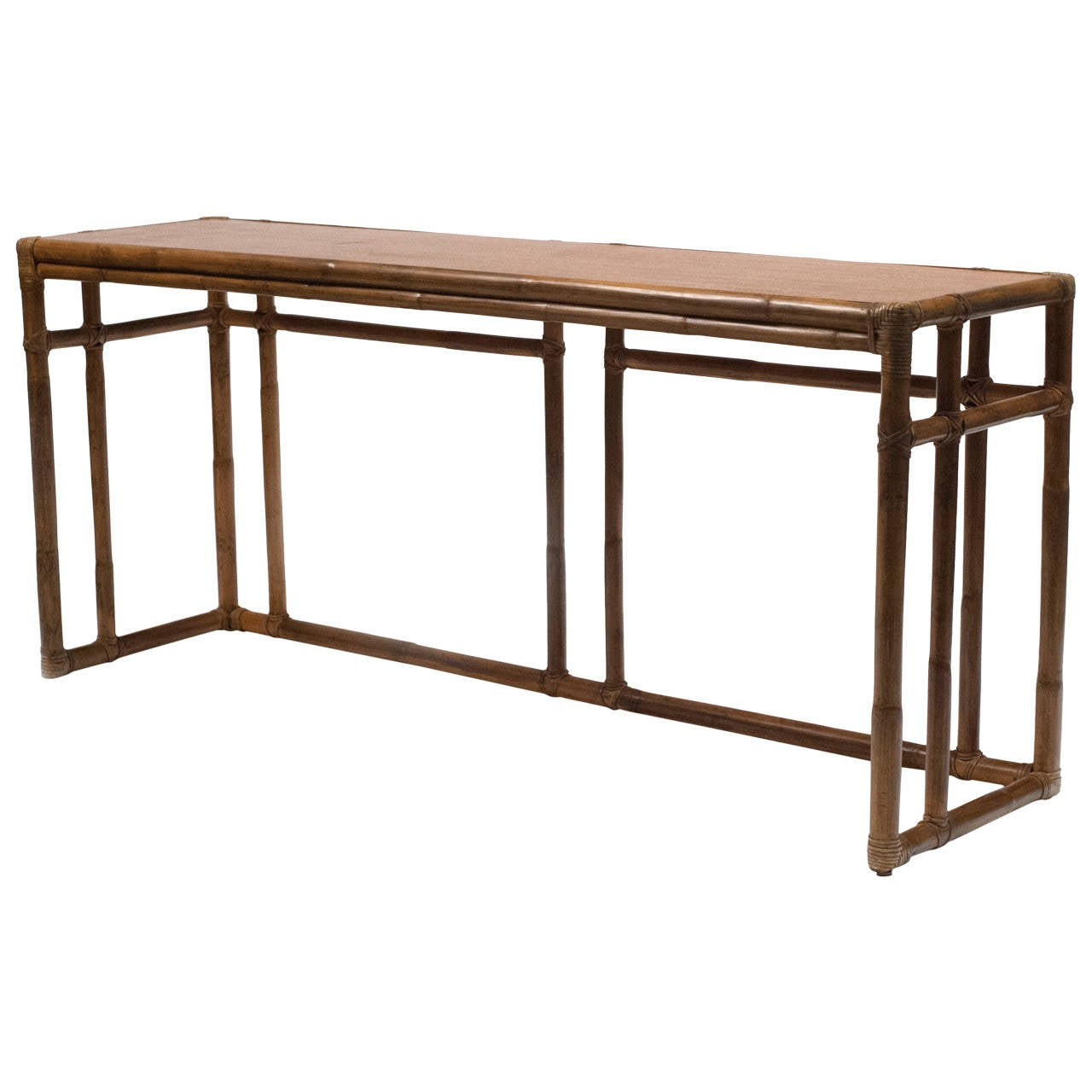 Vintage Mcguire Bamboo Console Table At 1stdibs