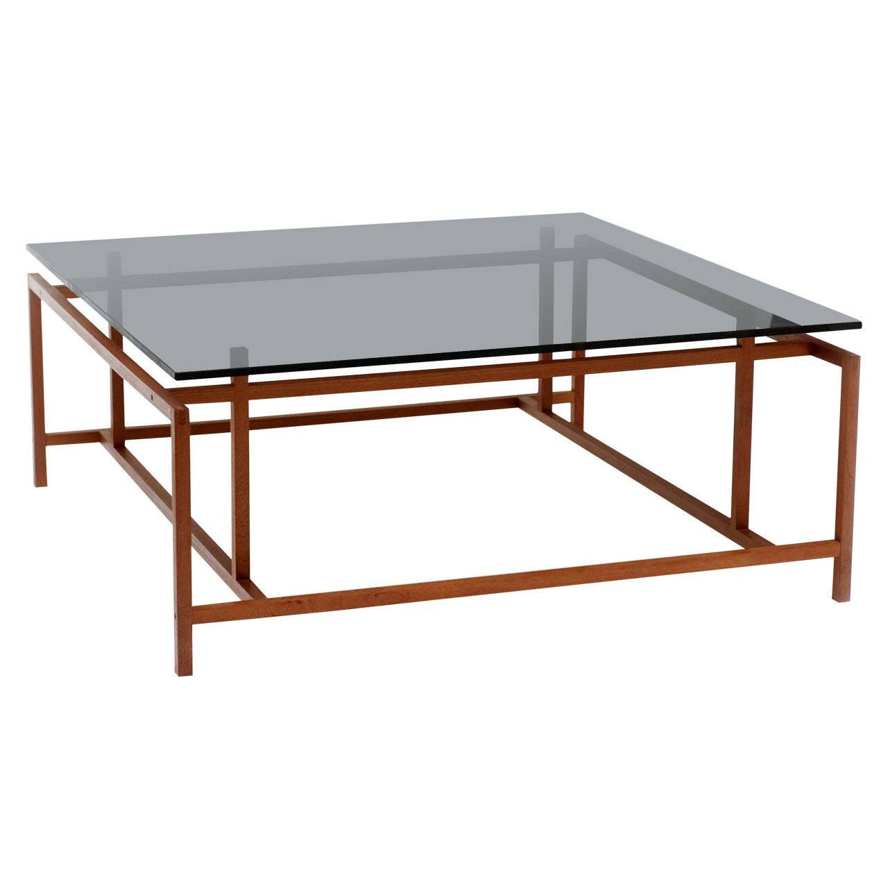 Danish modern komfort teak glass coffee table by henning for Designer cocktail tables glass