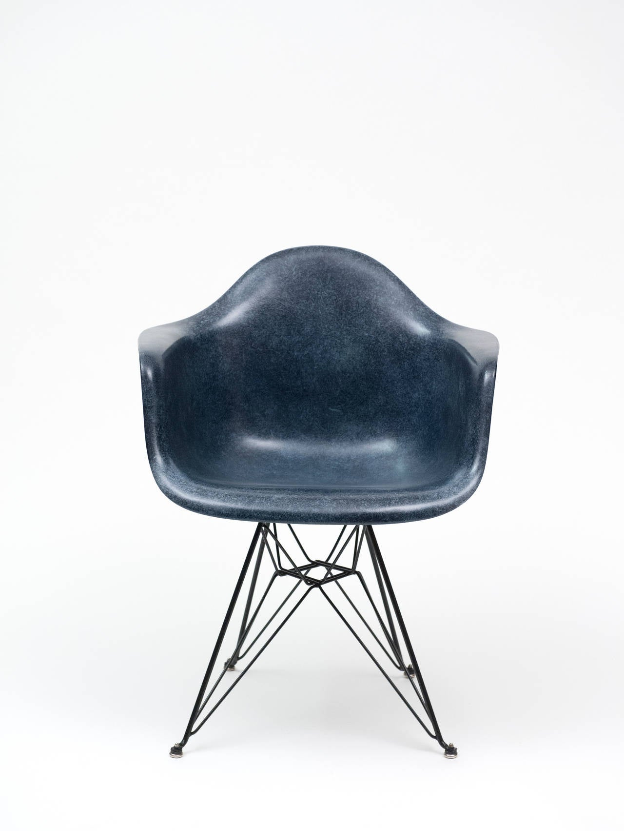 Eames Navy Blue Herman Miller Dar Shell Chair with Eiffel Tower