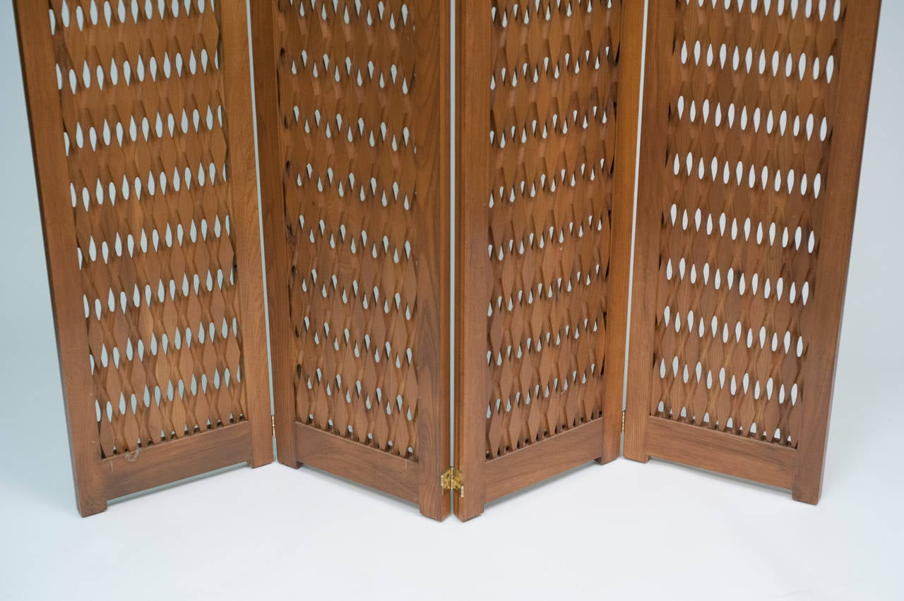 large mid-century modern carved wood screen privacy room divider