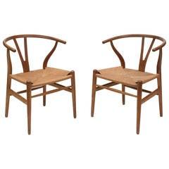 Pair of Hans Wegner Wishbone Chairs CH24 Carl Hansen