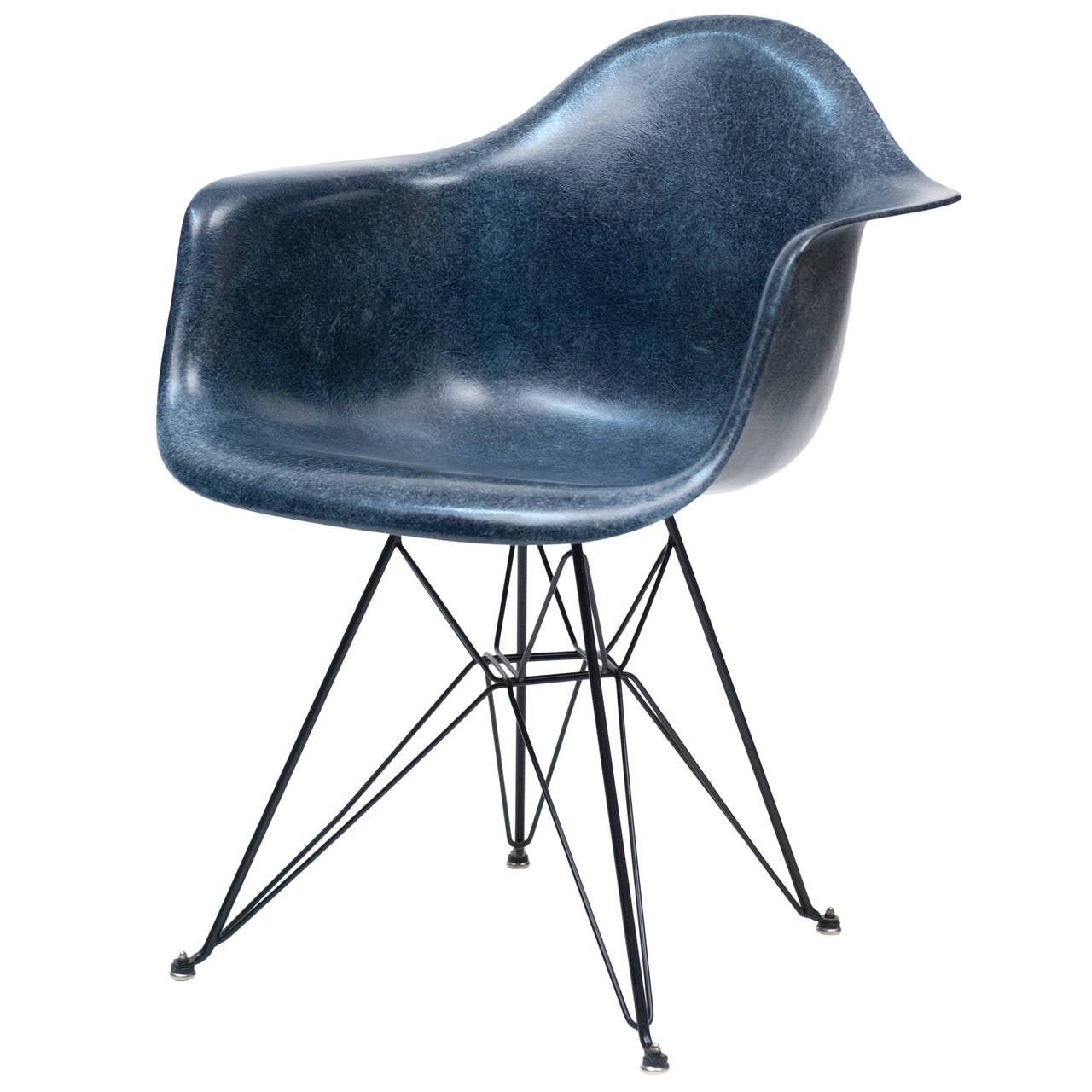 eames navy blue herman miller dar shell chair with eiffel. Black Bedroom Furniture Sets. Home Design Ideas