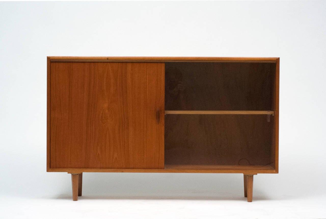 Low Bookcases With Doors: Danish Low Teak Bookcase Cabinet With Sliding Glass Door