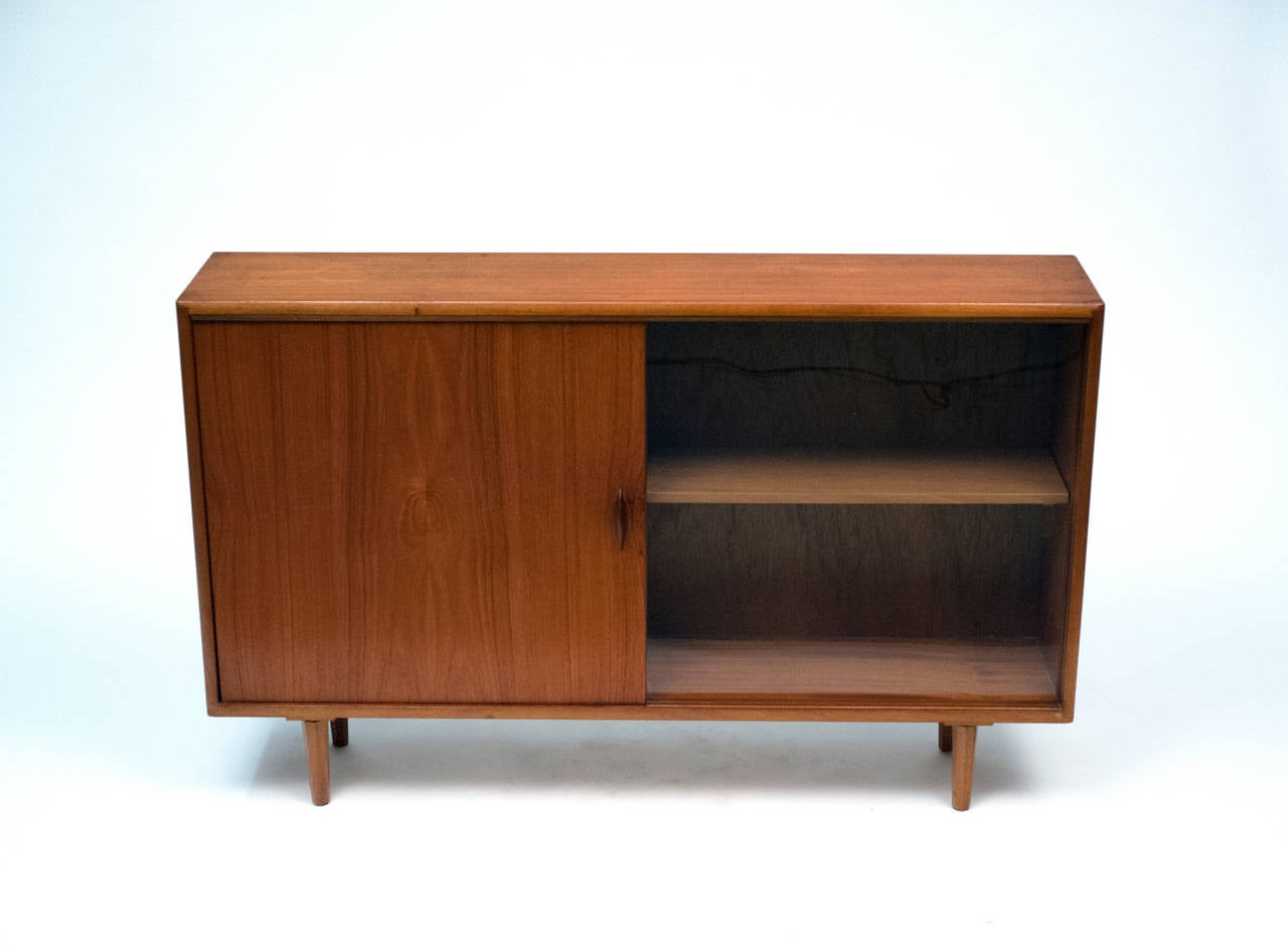 Danish Low Teak Bookcase Cabinet With Sliding Glass Door At 1stdibs