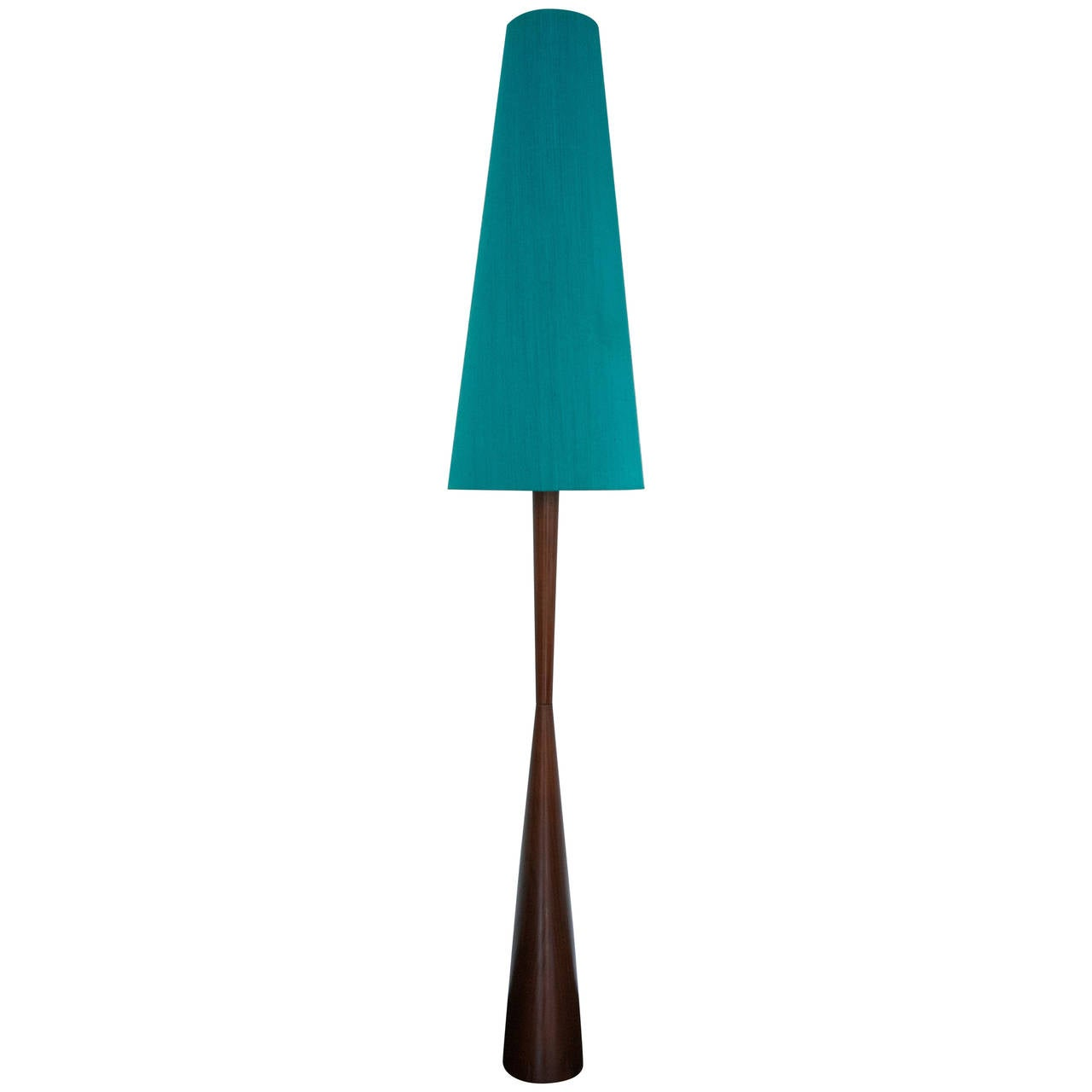 Tall Danish Modern Teak Floor Lamp With Original Silk
